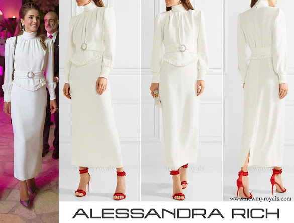 Queen Rania wore ALESSANDRA RICH Ruffle-trimmed stretch-cady gown