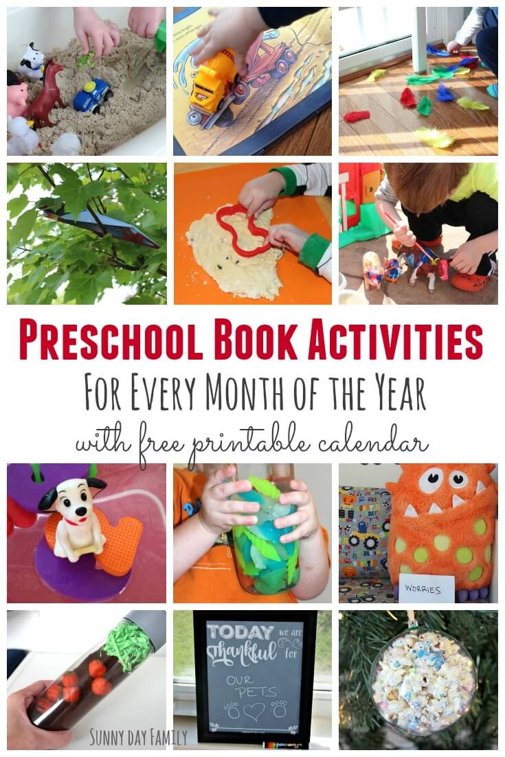 12 Preschool Book Activities - one for each month of the year! Plan a year of reading fun for your young child with a free printable schedule, book list, and fun activity or craft inspired by a children's book!
