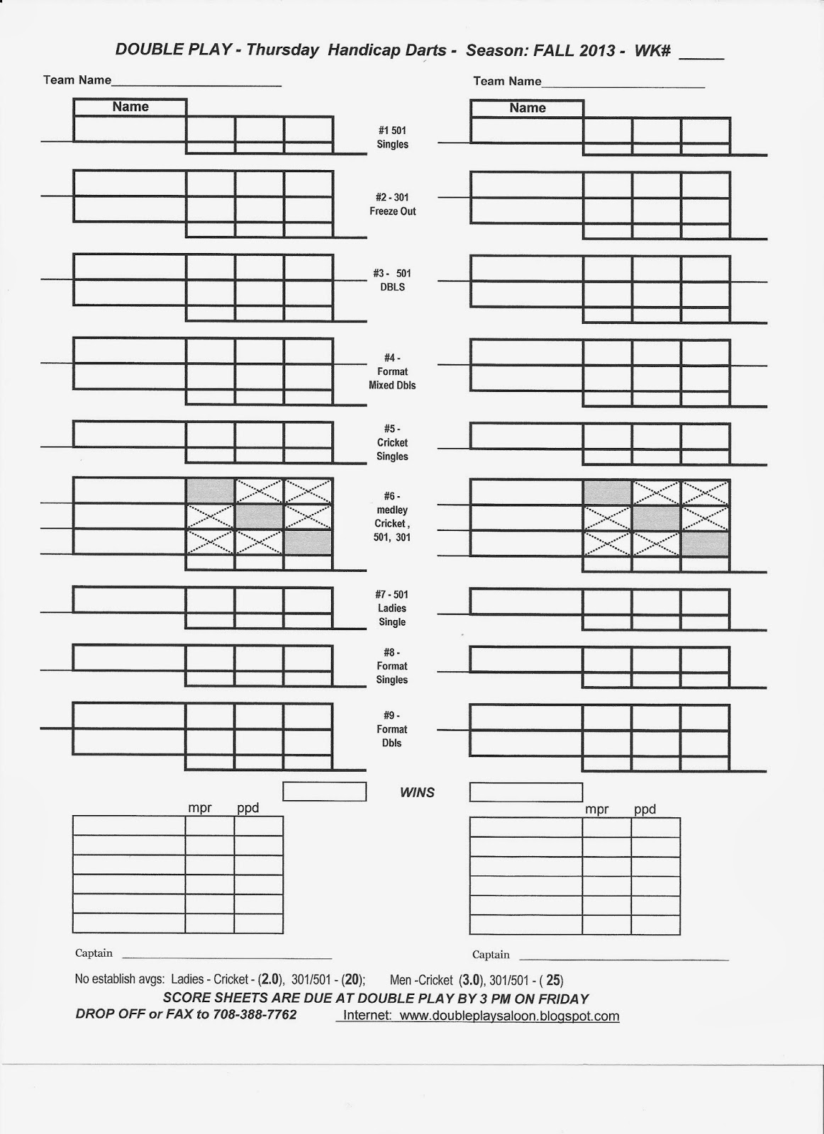 301 Dart Score Sheets Printable Pictures to Pin on