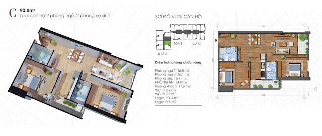 Thiết kế căn 92m - 2 phòng ngủ Ecolife Tây Hồ