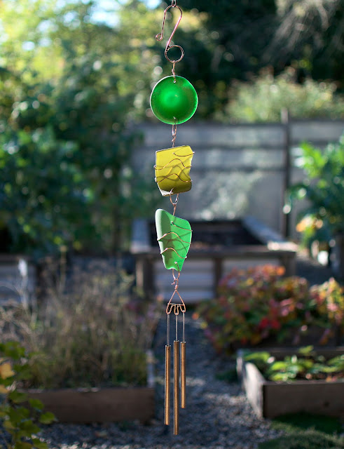 Glass and Copper Art Wind Chime, Coast Chimes