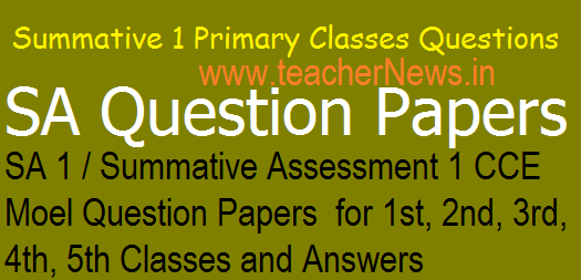 SA 1 Primary Class CCE Model question Papers 1st, 2nd, 3rd, 4th, 5th Class 2018-19