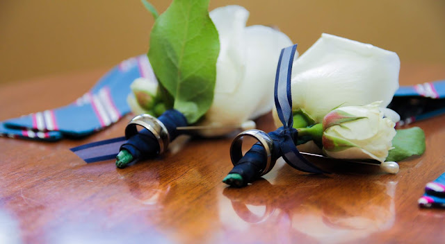 same sex wedding, boutonnieres, rose boutonnieres