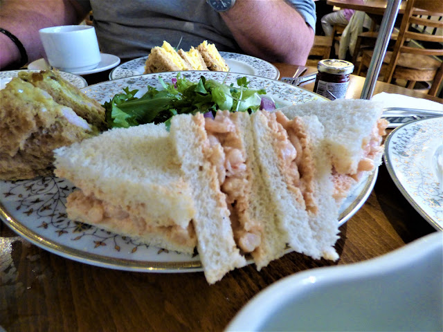 Prawn sandwiches at Afternoon tea at Tiptree Tea Rooms, Jam Factory and Museum, Essex