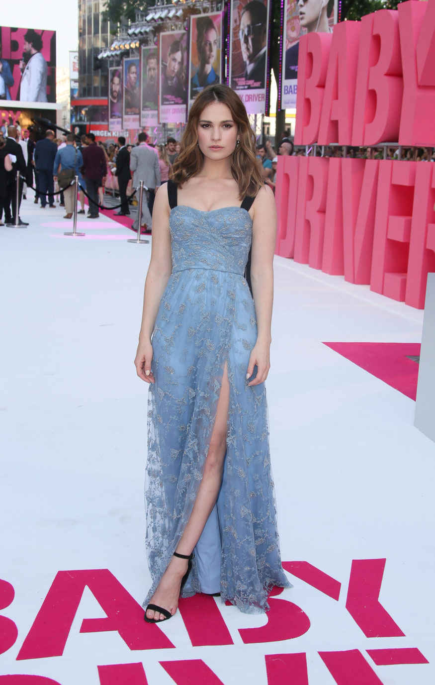 Actress Lily James poses for photographers upon arrival at The premiere of the film 'Baby Driver' in London