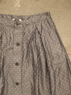 "FWK by Engineered Garments ""Tuck Skirt in Grey Polka Dot Lawn"""