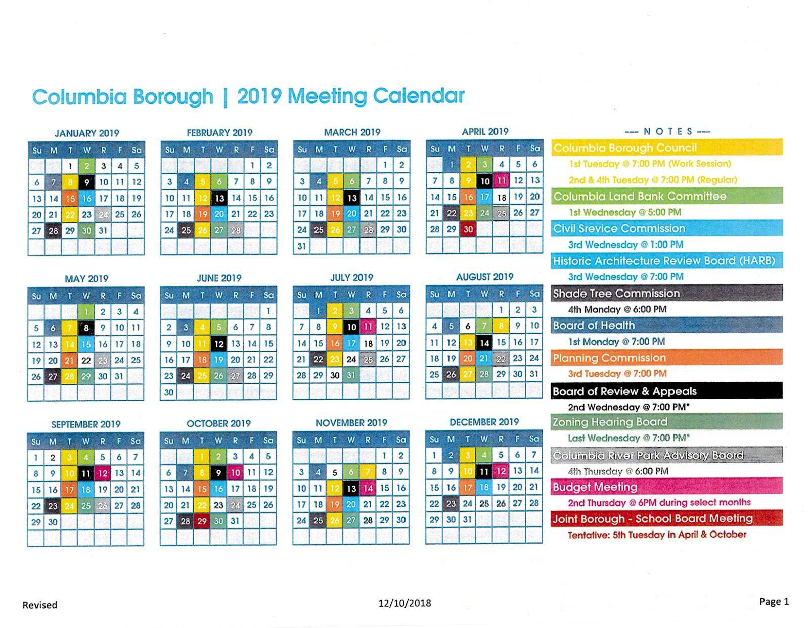 Columbia 2019 Calendar COLUMBIA SPY: 2019 Columbia Borough Meeting Calendar features new