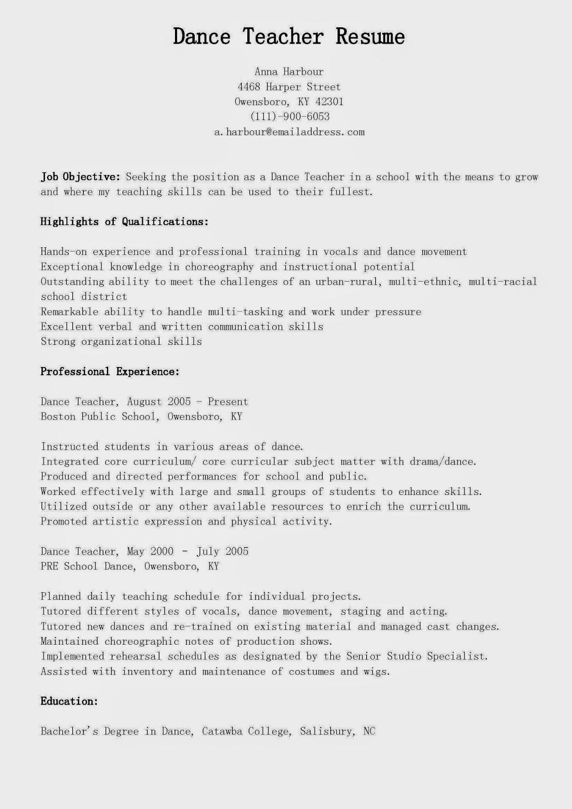 Resume Samples Dance Teacher Sample