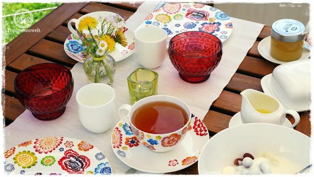 Gartenblog Topfgartenwelt Rezept: Zitronengelee-Zitronensirup - ein Frühstück im Garten