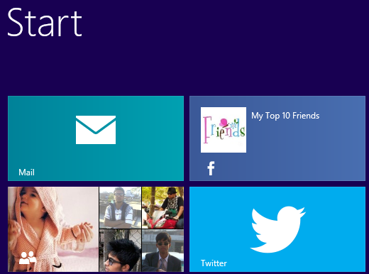 Publishers applications on Start, twitter and Facebook for Windows 8
