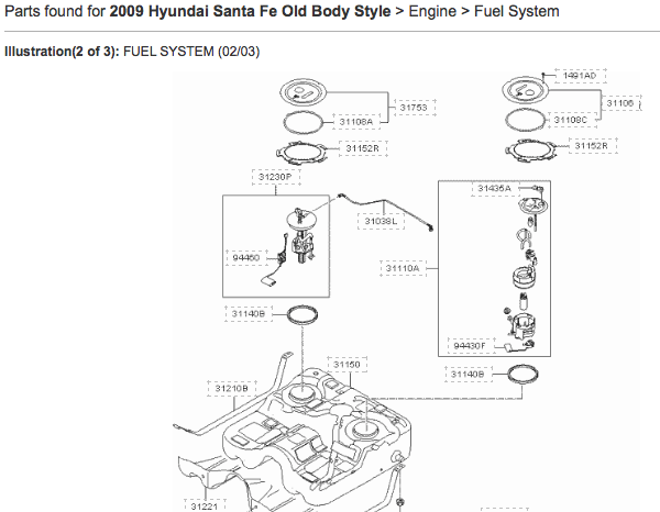 Share information: 2007~09 Hyundai Santa Fe Fuel Level