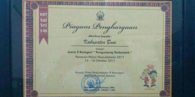 Kabupaten Bone Sabet 2 Juara pada Pameran Perpustakaan Sulsel 2017