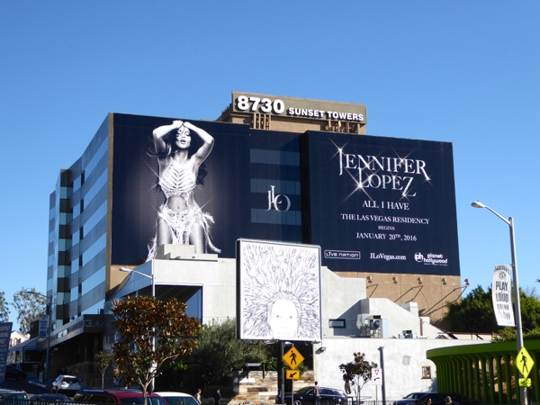 Giant Jennifer Lopez Vegas residency billboard Sunset Strip
