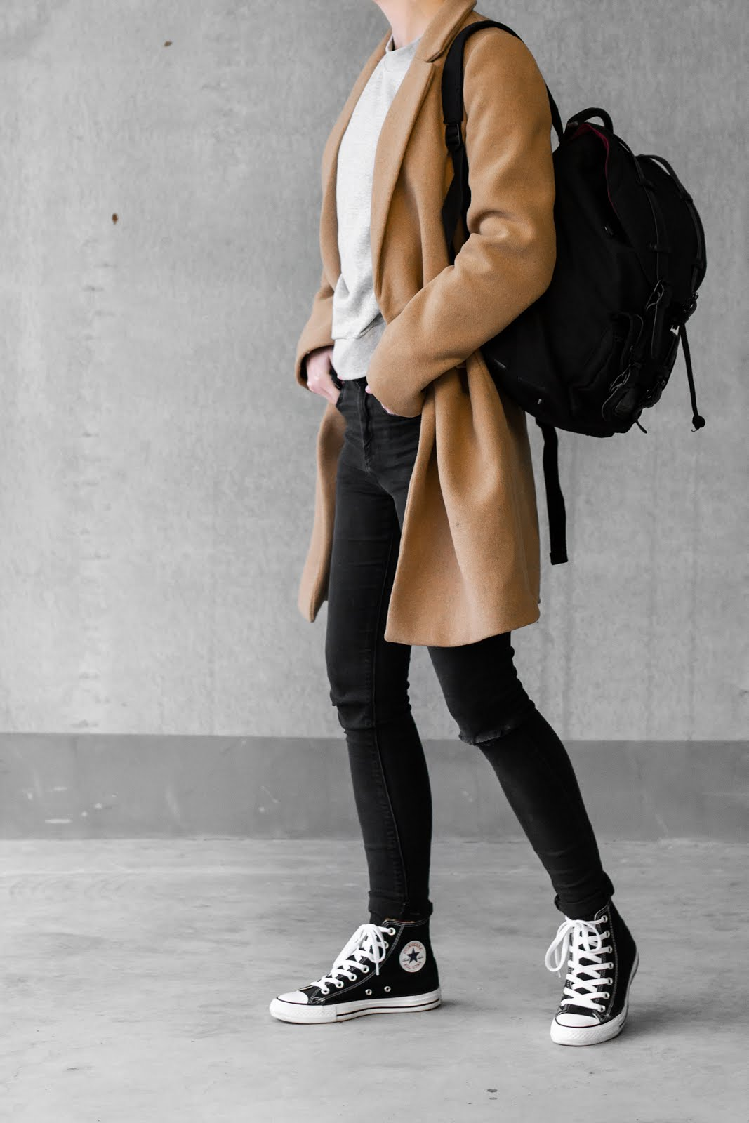 Zara masculine coat, stoere jas, camel, mantel, asos ridley jeans, gaston luga, clässic backpack, rugzak, stylisch, minimal, outfit, street style