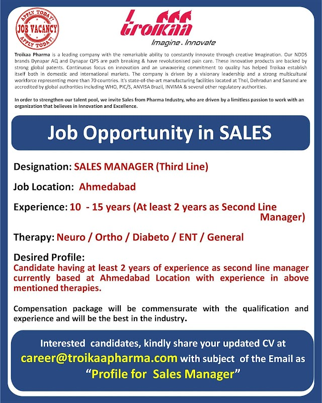 Troikaa Pharmaceuticals Ltd Job Opening for Sales Manager Apply Now