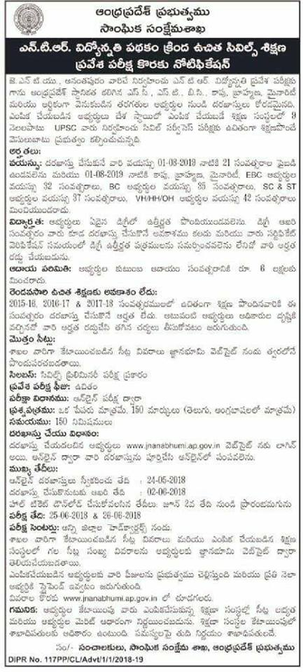 NTR Vidyonnathi 2018 Notification- AP Free Civil Services Coaching Notification, Online Application Form @ jnanabhumi.ap.gov.in NTR Vidyonnathi Results 2017 Download NTR Vidyonnathi Exam Expected Cutoff | AP Kapu Vidyonnati Schem |AP Latest G.O's| Civil Exams free coaching Notification| Exam Pettern|free coaching|Help line Number| Mains coaching| Merit list|Prelims coaching|selection list|Syllabus|AP Kapu Corporation Vidyonnathi Scheme for Civils Coaching Notification Help line AP NTR Vidyonnathi Scheme 2018-19 @ jnanabhumi – Free Civils Coaching For SC,ST BC, Kapu, Minority, Brahmin & EBC Candidates/2018/05/ap-kapu-ntr-vidyonnati-scheme-civils-coaching-notification-help-line-results-2018-apply-online-download-hall-tickets-results-exam-expected-cutoff-jnanabhumi.ap.gov.in.html
