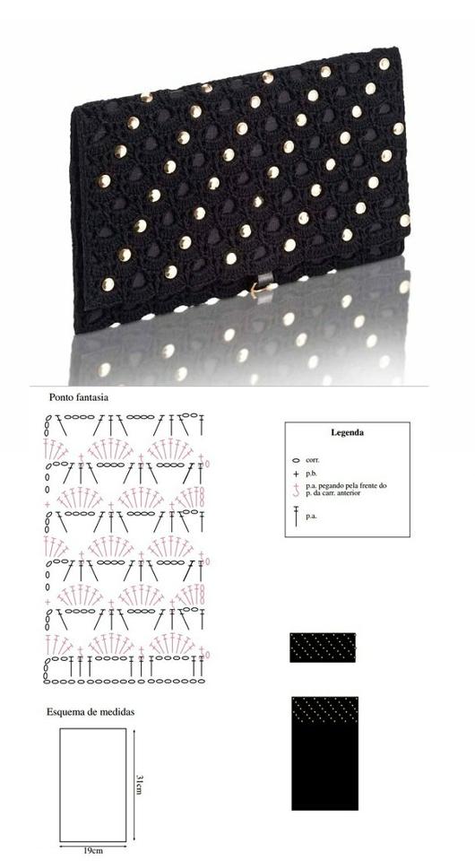 Patron Crochet Bolso Mano de Noche