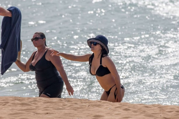 Salma Hayek Bikini at a Beach in Hawaii-