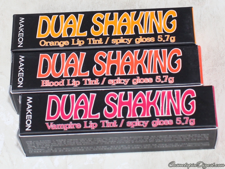 Review and swatches of Makeon Dual Shaking Spicy Lip Tints.