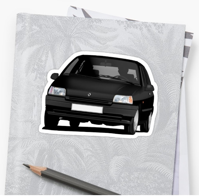 Redbubble Renault Clio illustration - stickers