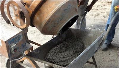 concreto na betoneira