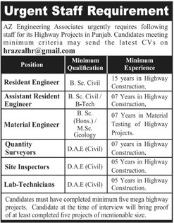 Civil Engineering Jobs in AZ Engineering Associates Lahore for Punjab Highway Projects