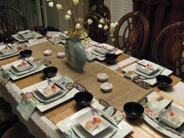como decorar mesa jantar japones