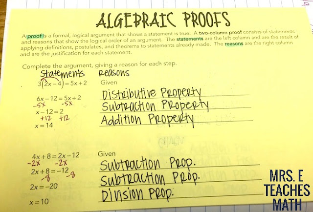 Algebraic Proofs Interactive Notebook Page