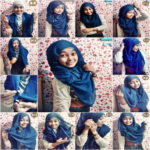 model jilbab segi empat yang simple