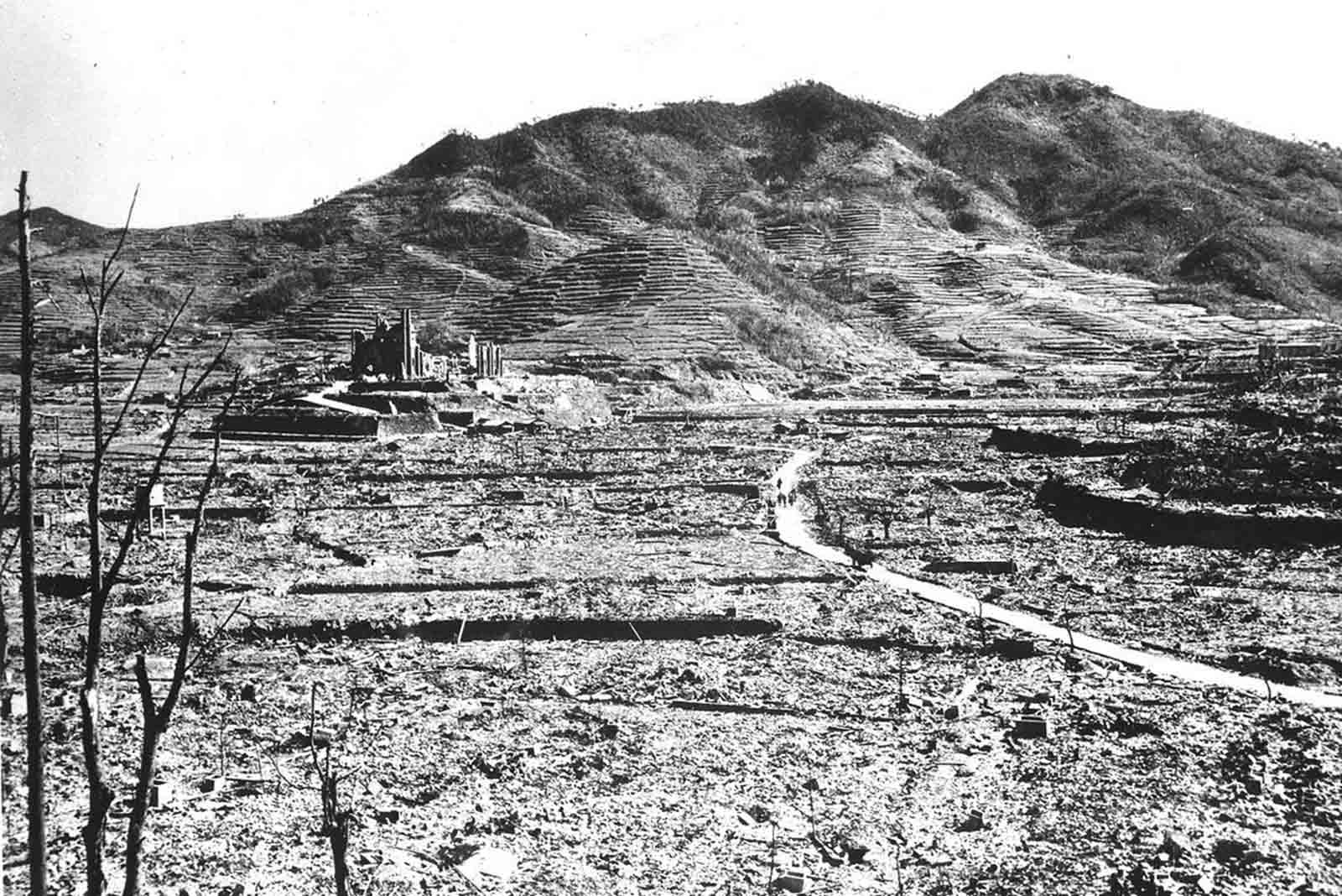The only recognizable structure remaining is a ruined Roman Catholic Cathedral in background on a destroyed hill, in Nagasaki, Japan in 1945.