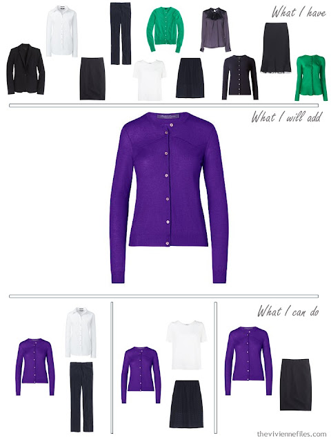 How to add a purple cashmere cardigan to a business capsule wardrobe