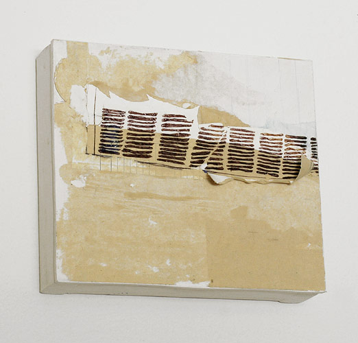 Radiator Window, 2008. acrylic & pen on collaged paper mounted on wood panel. 17.1 x 19.3 x 4.5 cm