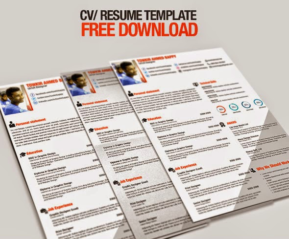 TIPS COM 34 Free Professional Resume CV PSD Templates