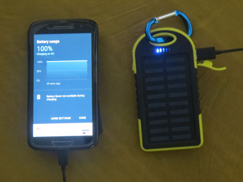 solar charger plugged into phone