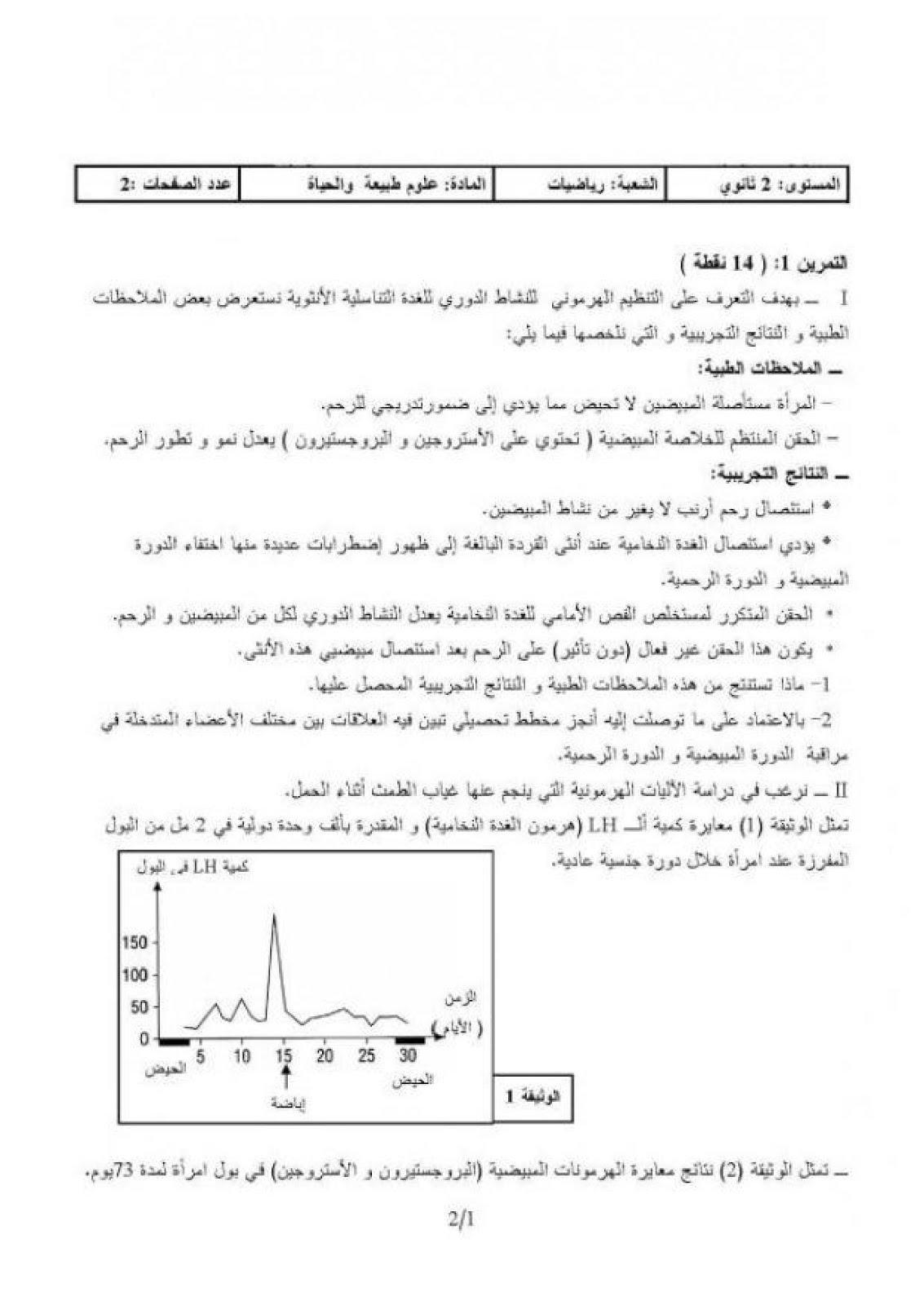 امتحان العلوم الطبيعية  للسنة الثانية ثانوي الفصل  شعبة رياضيات