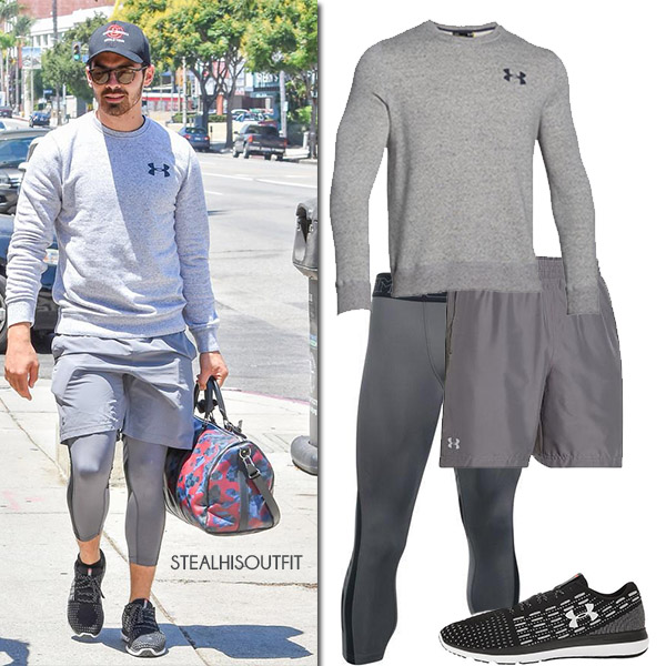 Joe Jonas in grey workout clothes from Under Armour august 2017 mens activewear