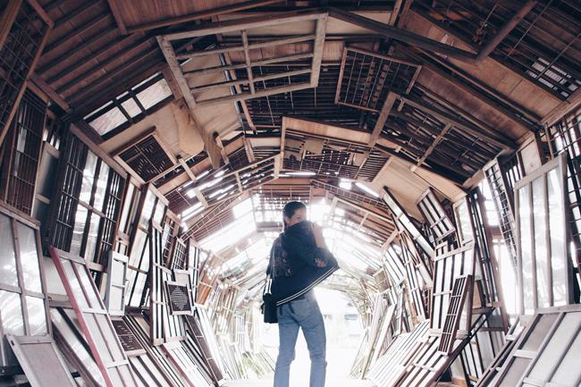 瀬戸内国際芸術2016 豊島 遠い記憶 トンネル 建具