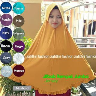 jilbab syar'i jumbo rempel bahan jersey