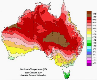 Australia's hottest ever October Day - the weather map