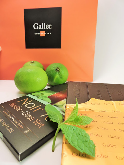 Tablette chocolat noir menthe et citron vert Galler
