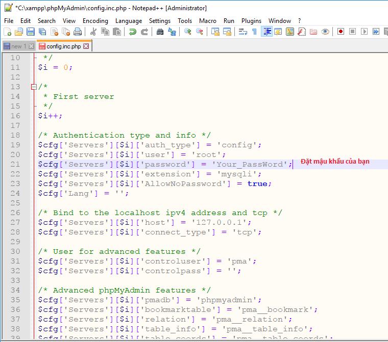 Hướng dẫn đặt và đổi mật khẩu cho phpMyAdmin trên XAMPP 6