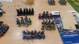 lion rampant army including men at arms, archers, mounted yeomen