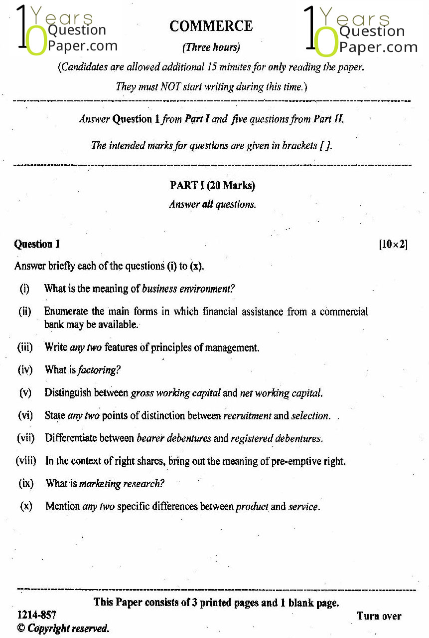 isc 2014 class 12th Commerce question paper
