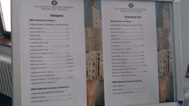 Muzeum Historyczne w Bratysławie - Cennik