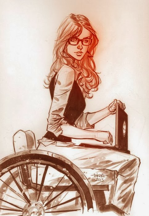 Pastel drawing of Oracle, female comic book character in a wheelchair