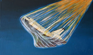 Painting of space shuttle Columbia during reentry