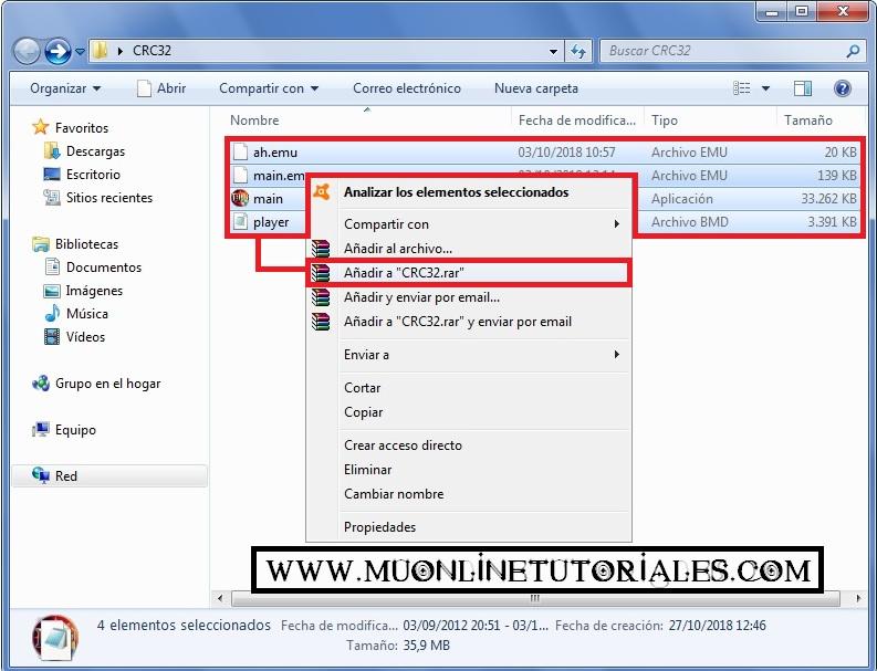 Comprimiendo los archivos de la carpeta CRC32