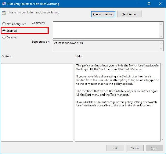 Windows 10 Switch User Disable: Fast User Switching
