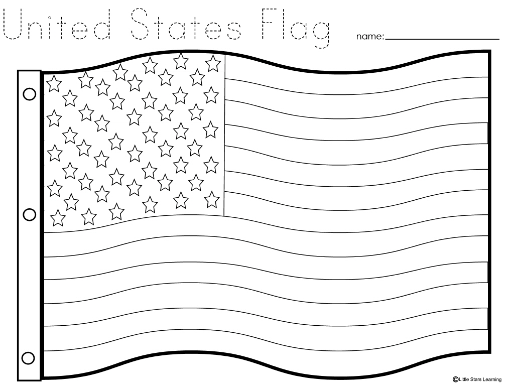 Little stars learning flag day w printables for American flag printable coloring page