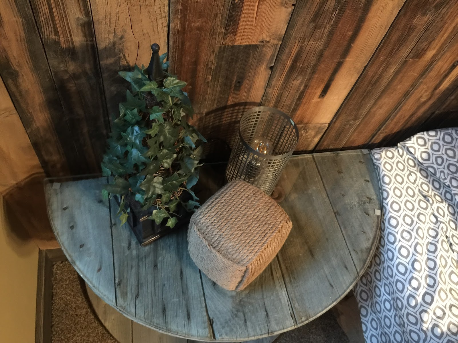 Wooden Electrical Spool Table Turned Into A Bedside Nightstand A